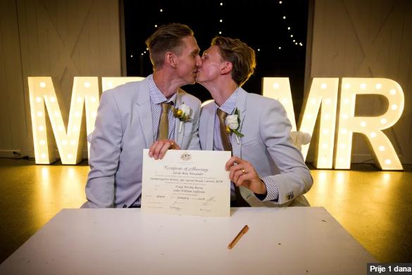 Atletičari Carig i Luke među prvim gay parovima koji su se vjenčali u Australiji