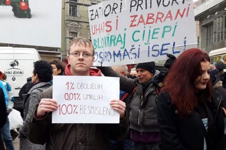 Protest u Zagrebu protiv novih epidemioloških mjera